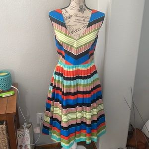 Tracy Reese Fit n Flare Striped Dress